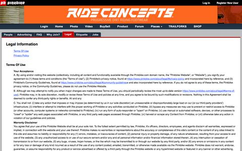 Screenshot of Privacy Page Terms Page pinkbike.com - Privacy Policy/Terms of Use - Pinkbike - captured Sept. 21, 2018