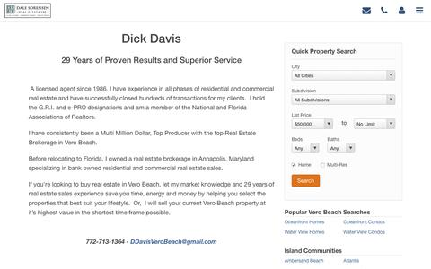 Screenshot of About Page homesofverobeach.com - Dick Davis - captured June 25, 2016