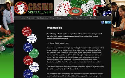 Screenshot of Testimonials Page casinospecialevent.com - Testimonials | Casino Special EventCasino Special Event - captured Sept. 29, 2014