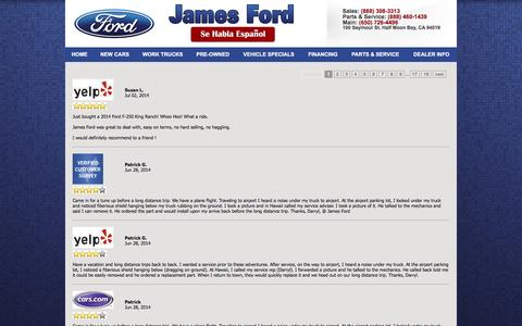 Screenshot of Testimonials Page jamesford.com - Customer Reviews of James Ford | Half Moon Bay, CA Car Dealer - captured Feb. 11, 2016