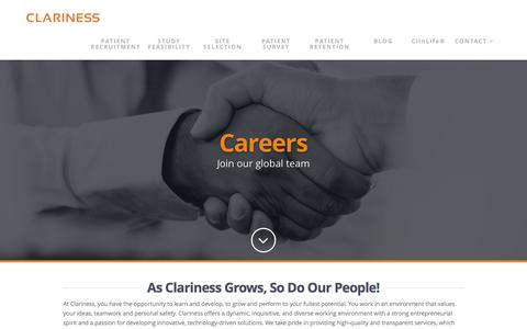 Screenshot of Jobs Page clariness.com - Employment - Clariness - Clinical Trial Recruitment & Management Services - captured Dec. 9, 2015