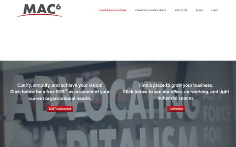 Screenshot of Home Page mac6.com - MAC6 | Coworking Space & Leadership Academy in Tempe, AZ - captured May 25, 2017