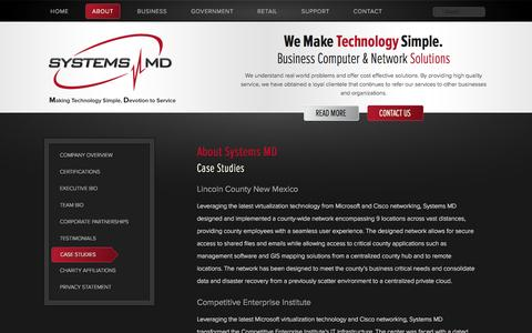 Screenshot of Case Studies Page systemsmd.com - Systems MD | Case Studies - captured Oct. 7, 2014
