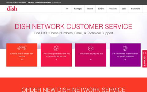 Screenshot of Support Page usdish.com - DISH Customer Service & Phone Numbers | 1-877-906-3727 - captured Oct. 14, 2017