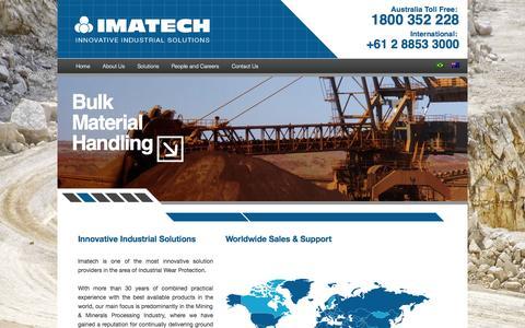 Screenshot of Home Page imatech.com.au - IMATECH Innovative Industrial Solutions - captured Sept. 30, 2014