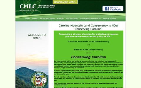 Screenshot of Home Page carolinamountain.org - Carolina Mountain Land Conservancy - Hendersonville, NC - captured July 15, 2017