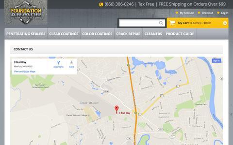 Screenshot of Contact Page foundationarmor.com - Contact Us - captured Sept. 30, 2014