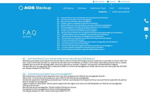 Screenshot of FAQ Page ags-backup.com - FAQ Sauvegarde en ligne AGS Backup - captured Dec. 22, 2015