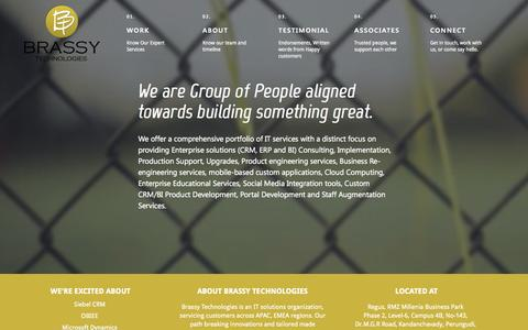 Screenshot of Home Page brassy.in - Brassy Technologies - captured Oct. 1, 2014