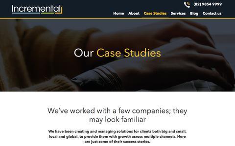 Screenshot of Case Studies Page incremental.com.au - Our case studies - Incremental - captured Nov. 23, 2019