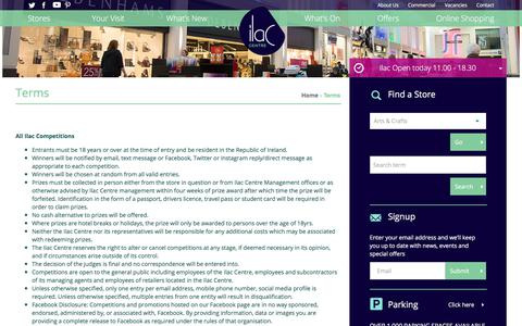 Screenshot of Terms Page ilac.ie - Terms - Ilac Shopping Centre - captured Oct. 14, 2017