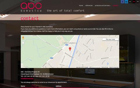 Screenshot of Contact Page domotica.be - Contact – ABC-Domotica - Schoten - ABC-Domotica - captured Oct. 4, 2014
