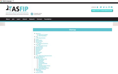 Screenshot of Site Map Page asfip.org - Atlanta Society of Finance And Investment Professionals - Sitemap - captured Oct. 4, 2018
