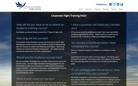 Screenshot of FAQ Page corporateflighttraining.com - Corporate Flight Training FAQ's - captured Sept. 30, 2014