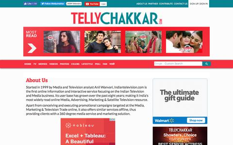 Screenshot of About Page tellychakkar.com - About Us - captured Aug. 26, 2019