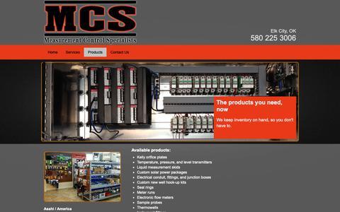 Screenshot of Products Page mcsok.com - Gas measurement | Elk City, OK - Measurement Control Specialists - captured Nov. 15, 2018
