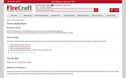 Screenshot of Terms Page firecraft.com - Terms of Business | FireCraft - captured June 6, 2017