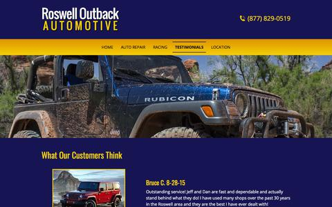 Screenshot of Testimonials Page roswelloutback.com - Roswell Outback Automotive | Roswell, GA | About Our Owner - captured July 4, 2018