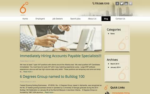 Screenshot of Blog 6degreesgrp.com - Recruitment Strategies, Interviewing Skills & More - 6 Degrees Blog - captured Oct. 7, 2014