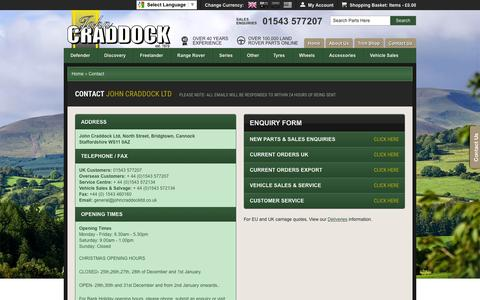 Screenshot of Contact Page johncraddockltd.co.uk - Contact John Craddock for Land Rover Parts and Accessories - captured Jan. 9, 2016