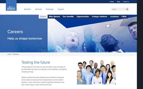 Screenshot of Jobs Page spirent.com - Careers - Spirent - captured Oct. 22, 2015