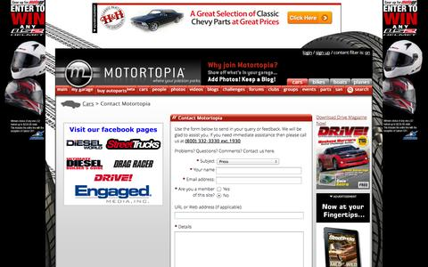 Screenshot of Press Page motortopia.com - Contact Us | Motortopia - captured Nov. 4, 2014