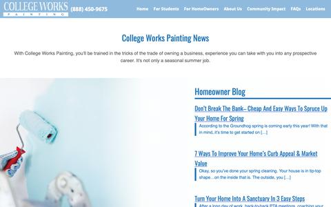 Screenshot of Press Page collegeworks.com - News | College Works Painting - captured Sept. 28, 2018