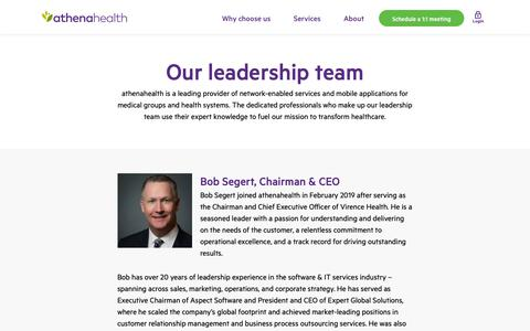 Screenshot of Team Page athenahealth.com - Leadership team | athenahealth - captured Feb. 12, 2019