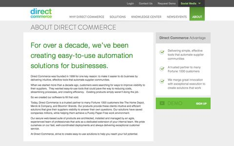 Screenshot of About Page directcommerce.com - About Direct Commerce - captured Sept. 25, 2014
