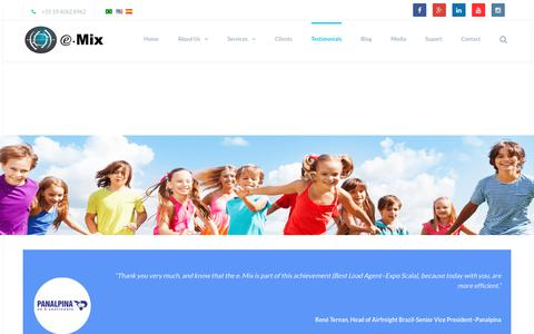 Screenshot of Testimonials Page emix.com.br - Testimonials | e.Mix - captured July 9, 2017