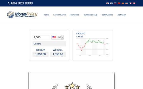 Screenshot of Home Page moneyway.com - MoneyWay.com | Currency Exchange Vancouver BC Canada - captured Nov. 16, 2016