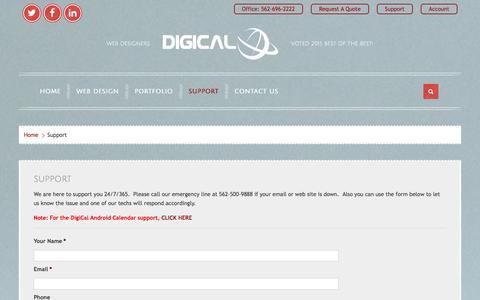 Screenshot of Support Page digical.com - Support - DigiCal - captured Jan. 7, 2016