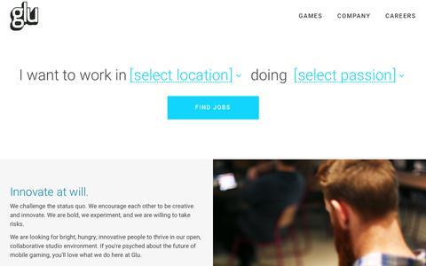 Screenshot of Jobs Page glu.com - Careers   Glu - captured March 20, 2018
