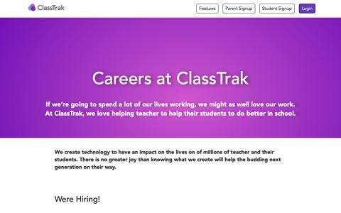 Screenshot of Jobs Page classtrak.com - ClassTrak - The best way to manage homework |  ClassTrak.com  Jobs - captured May 17, 2017