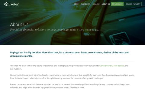 Screenshot of About Page exeterfinance.com - Overview |  Exeter Finance - captured Sept. 29, 2018
