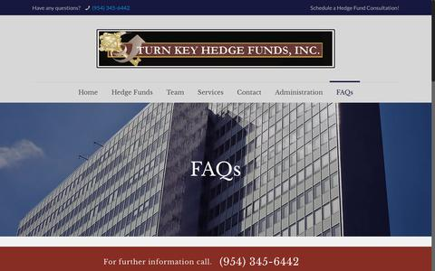 Screenshot of FAQ Page turnkeyhedgefunds.com - FAQs – Turn Key Hedge Funds - captured Dec. 11, 2018