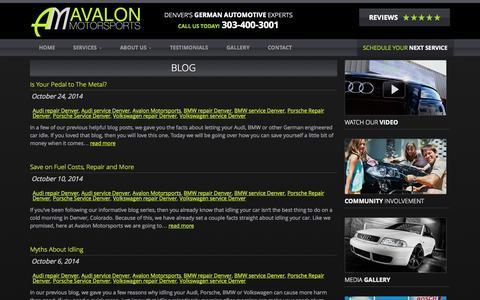 Screenshot of Blog avalonmotorsports.com - Blog - Avalon Motorsports - captured Oct. 29, 2014