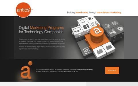 Screenshot of Landing Page antics.com - Antics Digital Marketing Agency | Marketing & Software Solutions | San Carlos, CA - captured March 21, 2016