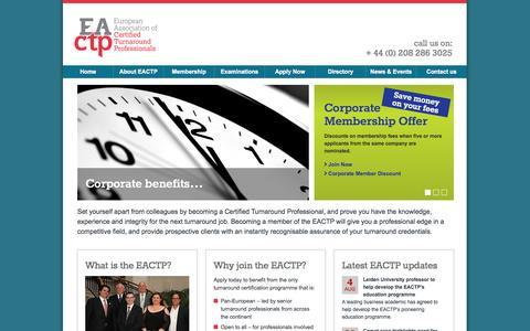 Screenshot of Home Page eactp.eu - European Association of Turnaround Professionals - captured Sept. 26, 2014