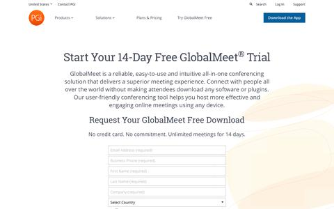 Screenshot of Trial Page pgi.com - Start Your GlobalMeet Free Trial | PGi - captured March 23, 2019