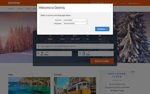 Screenshot of Home Page destinia.com - Cheap hotel deals and online flight booking - Destinia Travel - captured Dec. 2, 2015