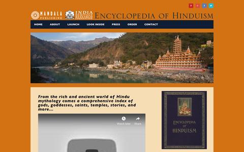 Screenshot of Home Page theencyclopediaofhinduism.com - theencyclopediaofhinduism.com - captured Oct. 25, 2018