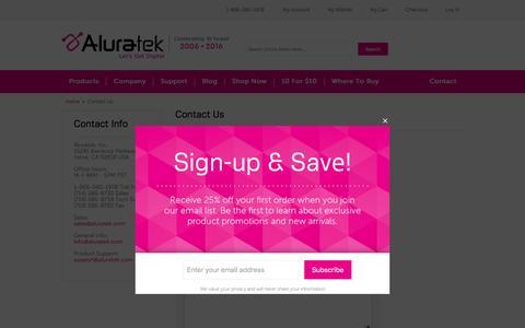 Screenshot of Contact Page aluratek.com - Contact Us    Aluratek - captured Sept. 5, 2016