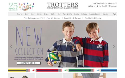Screenshot of Home Page trotters.co.uk - Children's Clothes, Kids & Baby Clothes UK - Trotters - captured Sept. 5, 2015