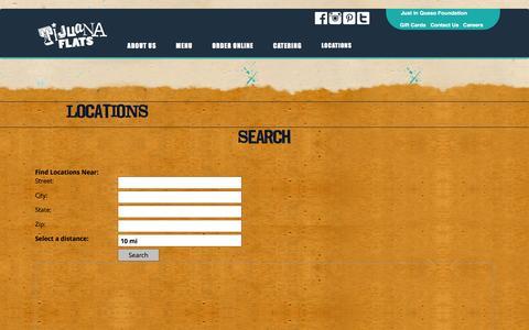 Screenshot of Locations Page tijuanaflats.com - Locations - Tijuana Flats - captured Feb. 1, 2016