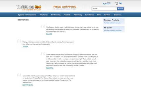 Screenshot of Testimonials Page thetelecomspot.com - Testimonials - captured Sept. 22, 2014