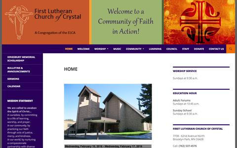 Screenshot of Home Page firstlcoc.org - First Lutheran Church of Crystal | A Community of Faith in Action - captured Feb. 10, 2016