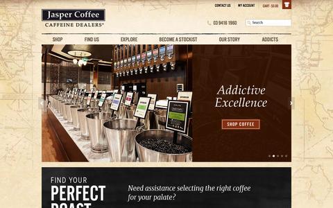 Screenshot of Home Page jaspercoffee.com - Home page - captured Sept. 16, 2015