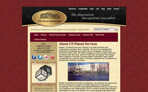 Screenshot of About Page recognizinginnovation.com - US Patent Service | Patent Plaques | Patent Awards About Us | US Patent Services - captured Oct. 2, 2014