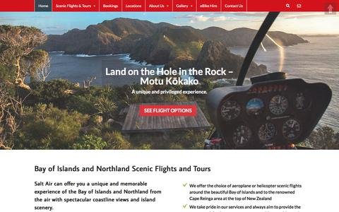 Screenshot of Home Page saltair.co.nz - Bay of Islands Helicopter & Aeroplane Scenic Flights, Northland NZ - captured July 26, 2018